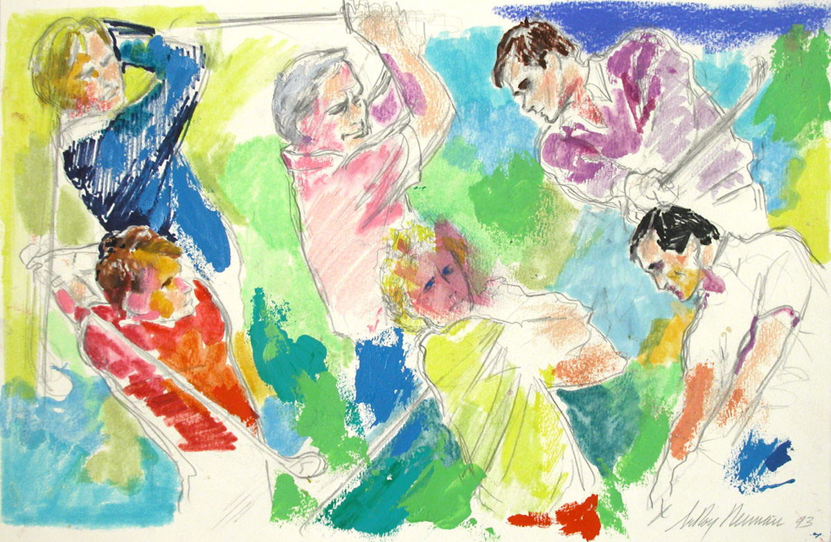 Preliminary drawing for Golf Masters, mixed media on paper, 11 3/8 x 17 3/8 in., 1993