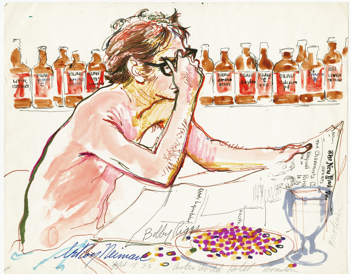 Bobby Riggs with his Vitamins at the Astro World Series, mixed media on paper, 11 7/8 x 15 3/8 in., 1973