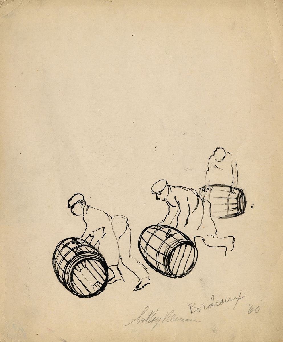 SOLD Bordeaux Winemakers, pen on paper, 16.5 x 12.5 in., 1960