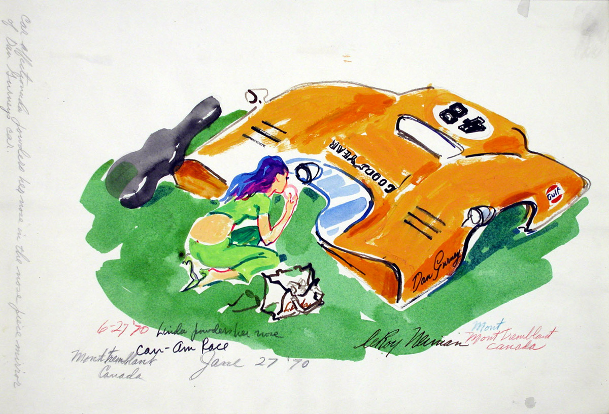 SOLD Linda powders her Nose (in race car mirror), mixed media on paper, 12 x 17.5 in., 1970