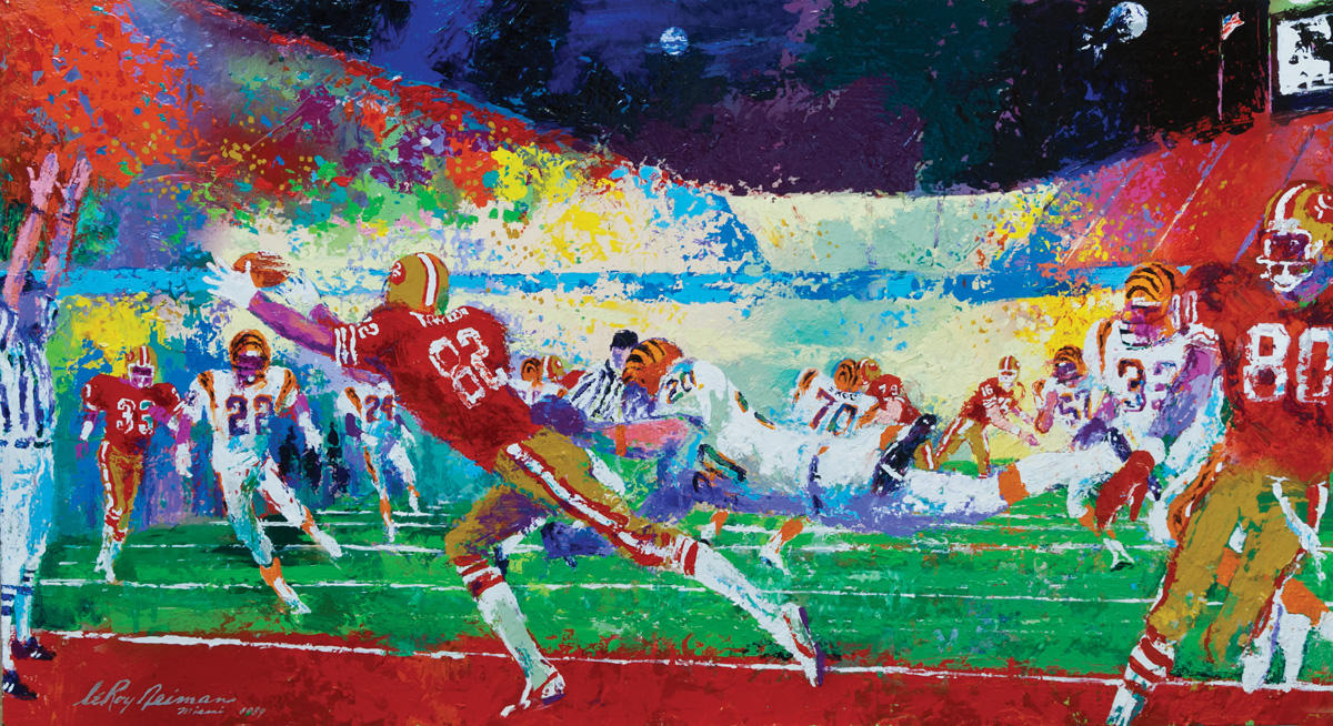 Superbowl XXIII, acrylic & enamel on board, 24 x 44 in. 1989