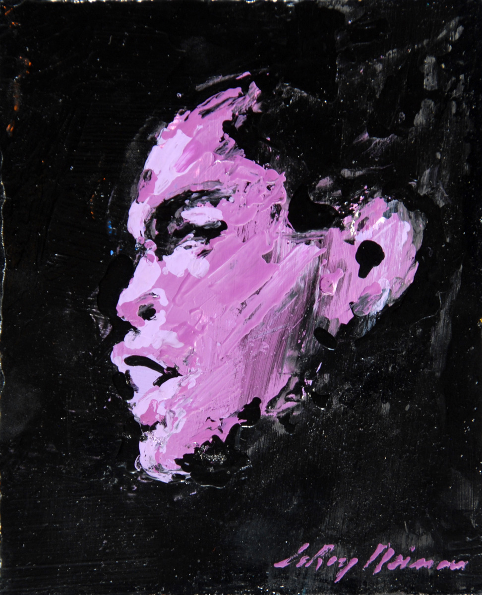 Ali with Mouthpiece, acrylic & enamel on board, 7 x 5.75 in. 1992
