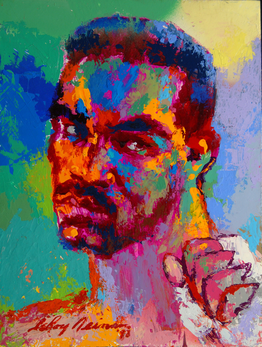 Evander Holyfield, acrylic & enamel on board, 16 x 12 in. 1998
