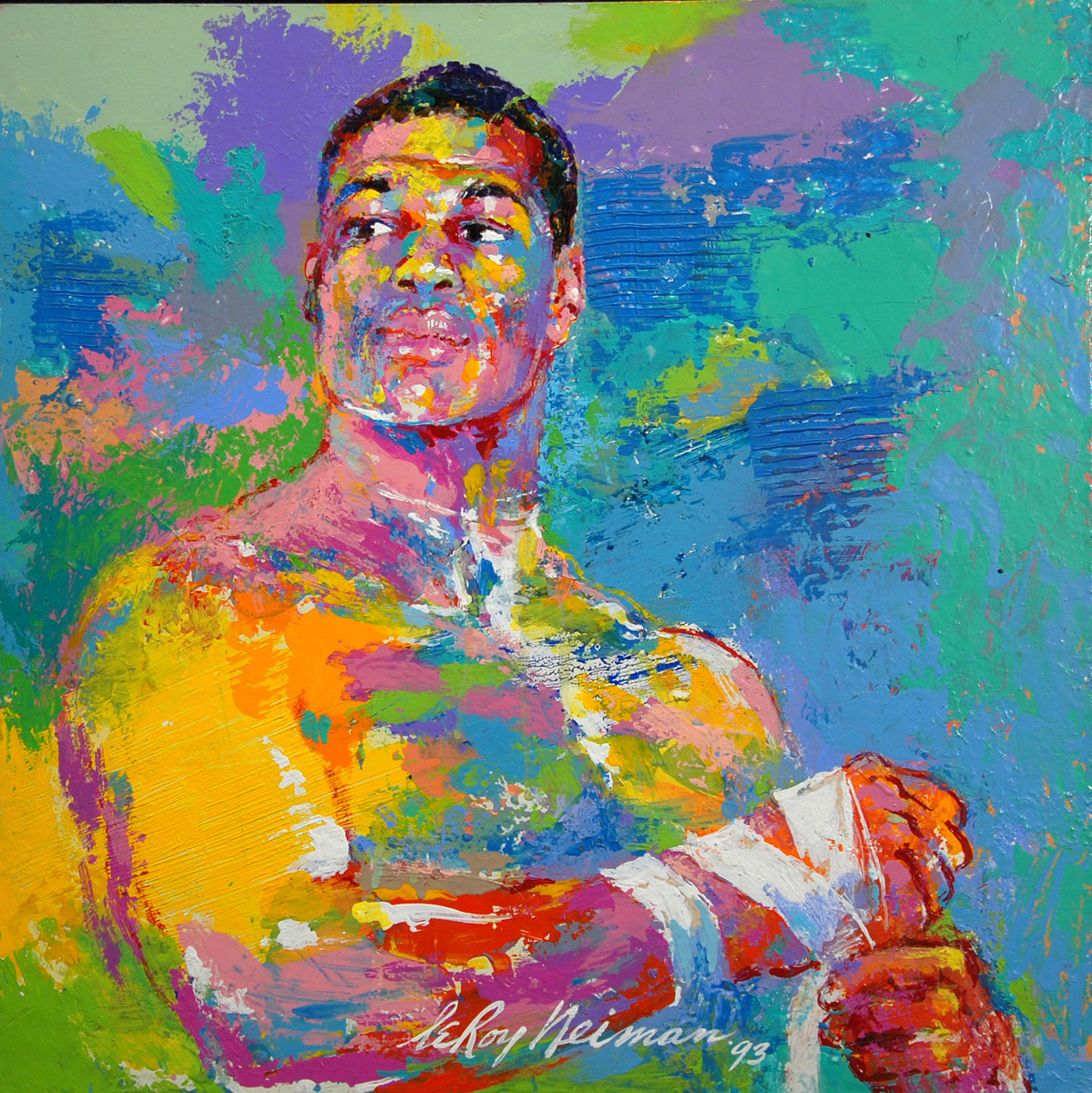 Riddick Bowe, acrylic & enamel on board, 19 x 18.75 in. 1993