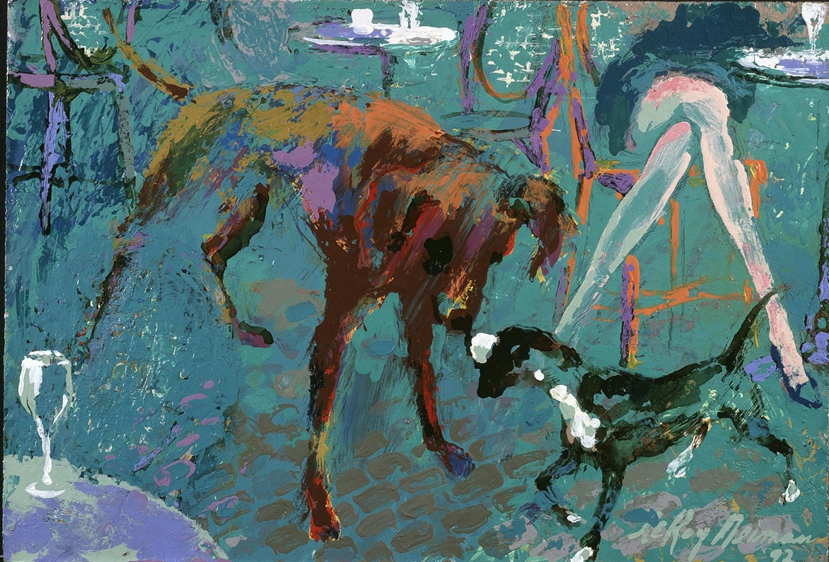 SOLD Two Dogs, acrylic and enamel on board, 8 x 11.5 in., 1992