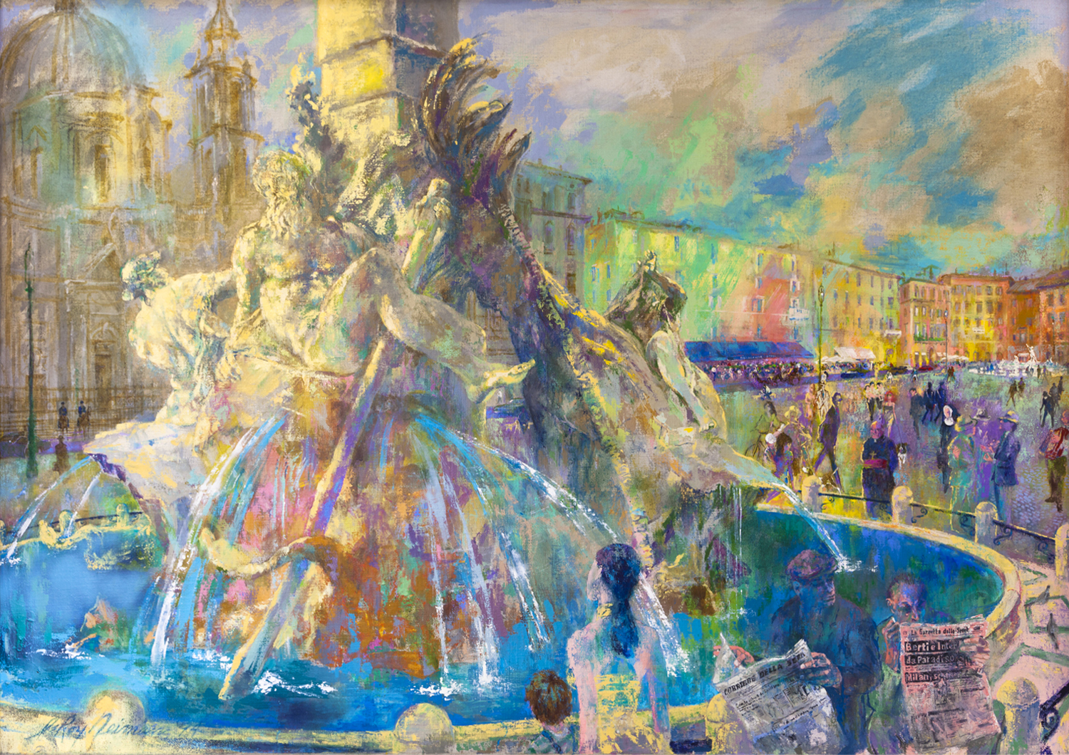Piazza Navona, Rome, acrylic & enamel on canvas, 72.25 x 102.4 in., 1994