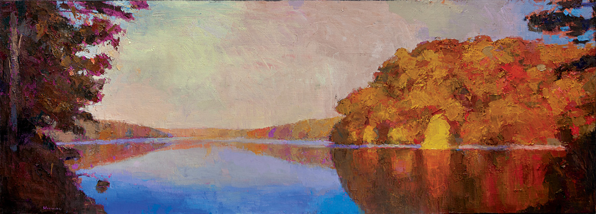 Autumnal Reflections, oil on canvas, 28 x 79 in.