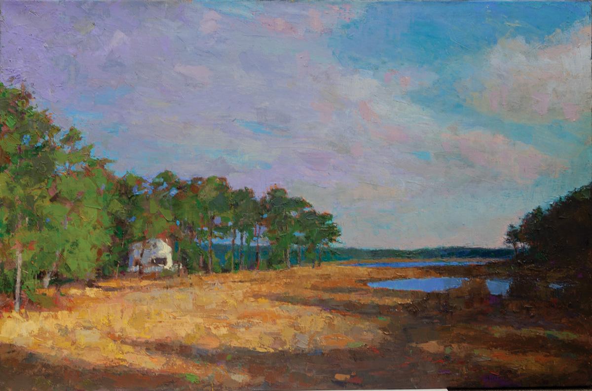 Quiet Pond,oil on canvas,42 x 64 in.
