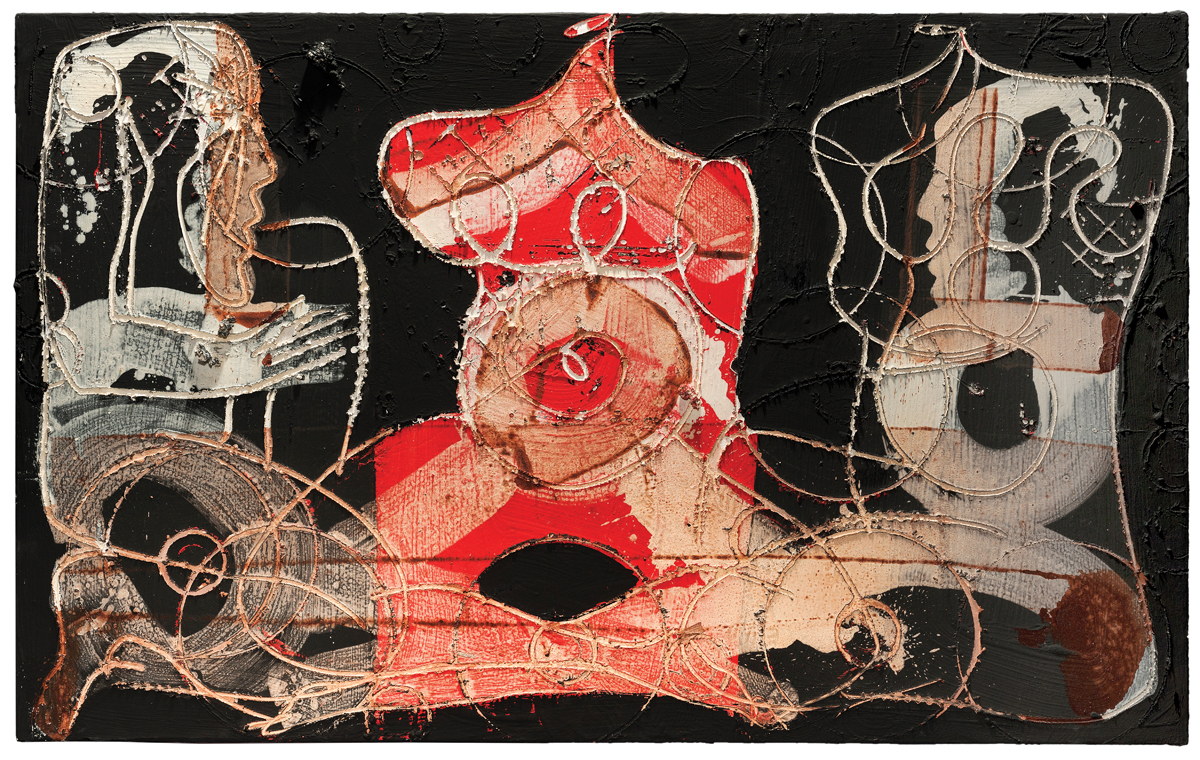 Red figure in between, mixed media on canvas, 48 x 79 in. (126 x 200 cm), 2018