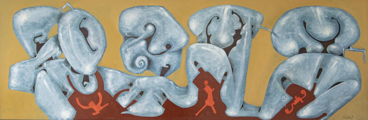 Tutti, oil on canvas, 26 x 78.5 in. (65 x 200 cm), 2018