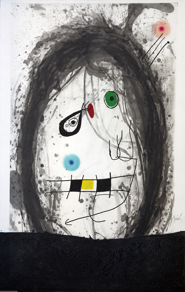 SOLD  L'Exile Noir, 1969,  Etching and aquatint and carborundum,  41.75 x 26.75 in., signed, ed. of 75 D. 497