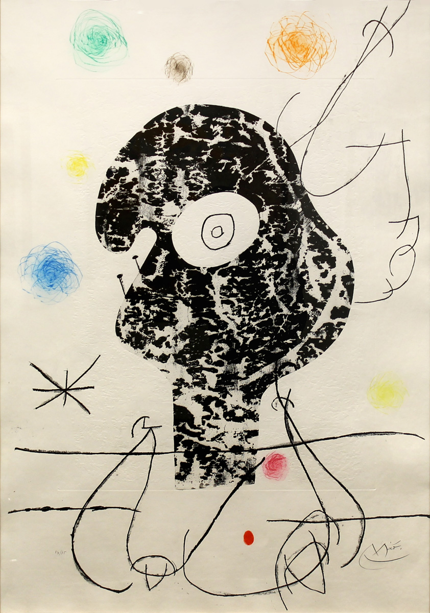 SOLD Emehpylop, 1968, Etching with cement imprint and drypoint,  40.9 x 29 in. signed ed. of 75 D.451