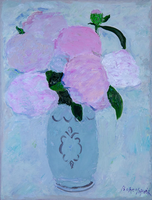 Pivoines du jardin, oil on canvas, 13.7 x 10.6 in. (35 x 27 cm)