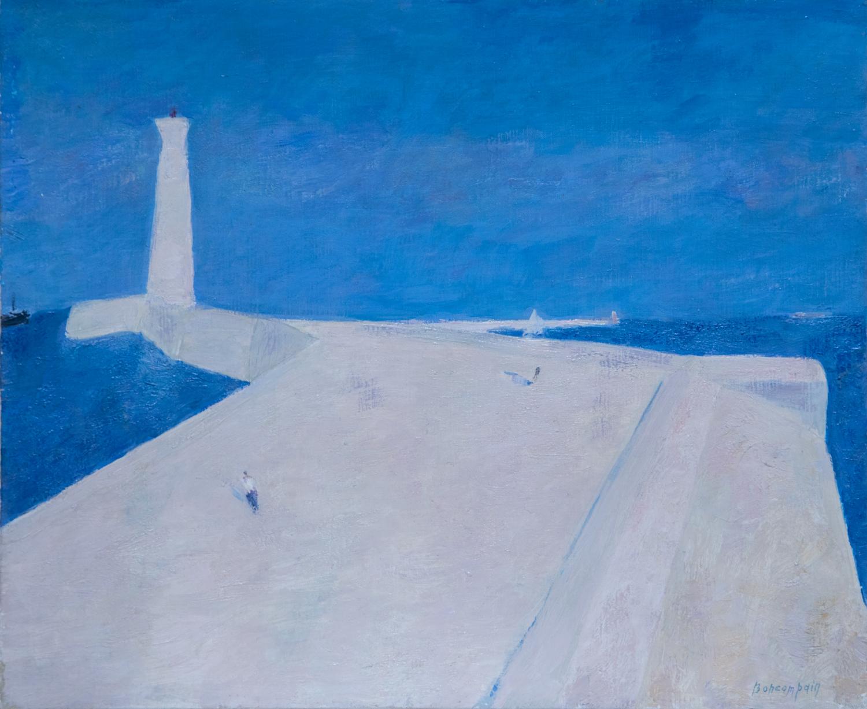 La Jetée, oil on canvas, 15 x 18 in. (38 x 46 cm), 1986