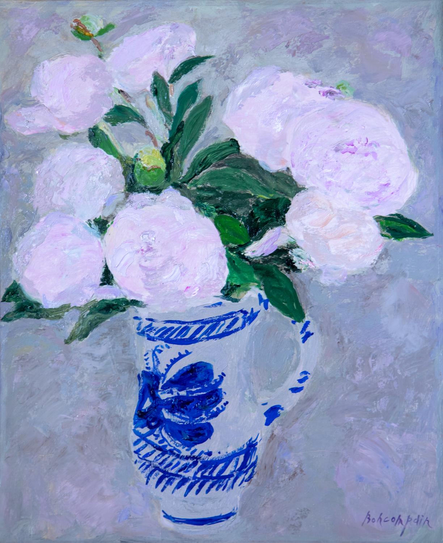 Pierre Boncompain: Pivoines dans le vase bleu et blanc, oil on canvas, 18 x 15 in. (46 x 38 cm)