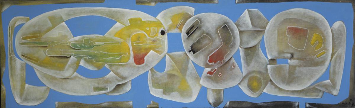 Eduardo Arranz-Bravo: Human Inside, oil on canvas, 18 x 58.2 in.