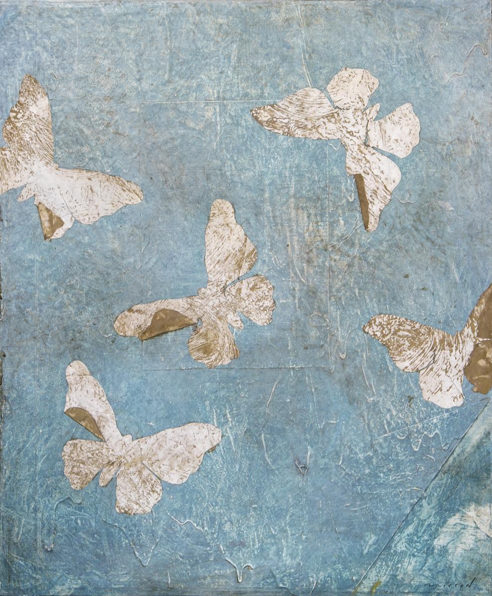 Pierre Marie Brisson:  A fleur d'eau, mixedmedia on canvas, 21 x 26in., 2018