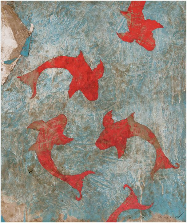 Pierre Marie Brisson: Le silence du poisson, mixed media on canvas, 21 x 26 in. 2019