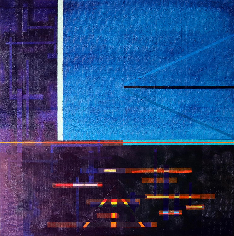 Miquel Gelabert: Redline Horizon (v 2.0), oil on canvas,31.5 x 31.5 in., 2019