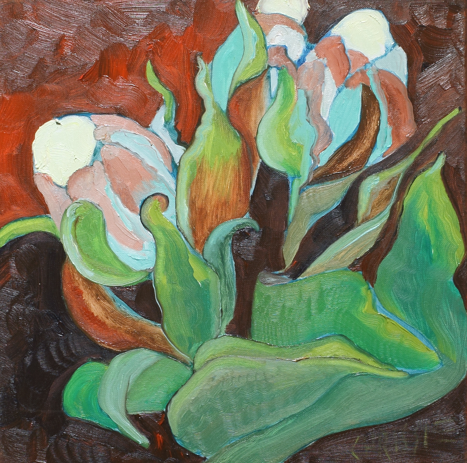 Chrissie Hynde: Thursday Clare Flowers I, oil on canvas,15.75 x 15.75 in., 5.19.2016