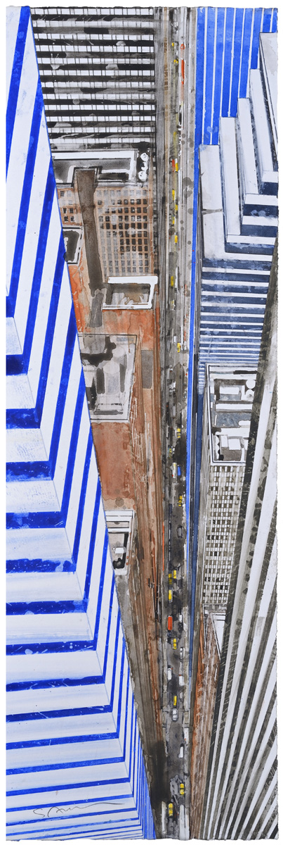 Gottfried Salzmann: From Helicopter VI, watercolor, 25 x 8.2in., 2016