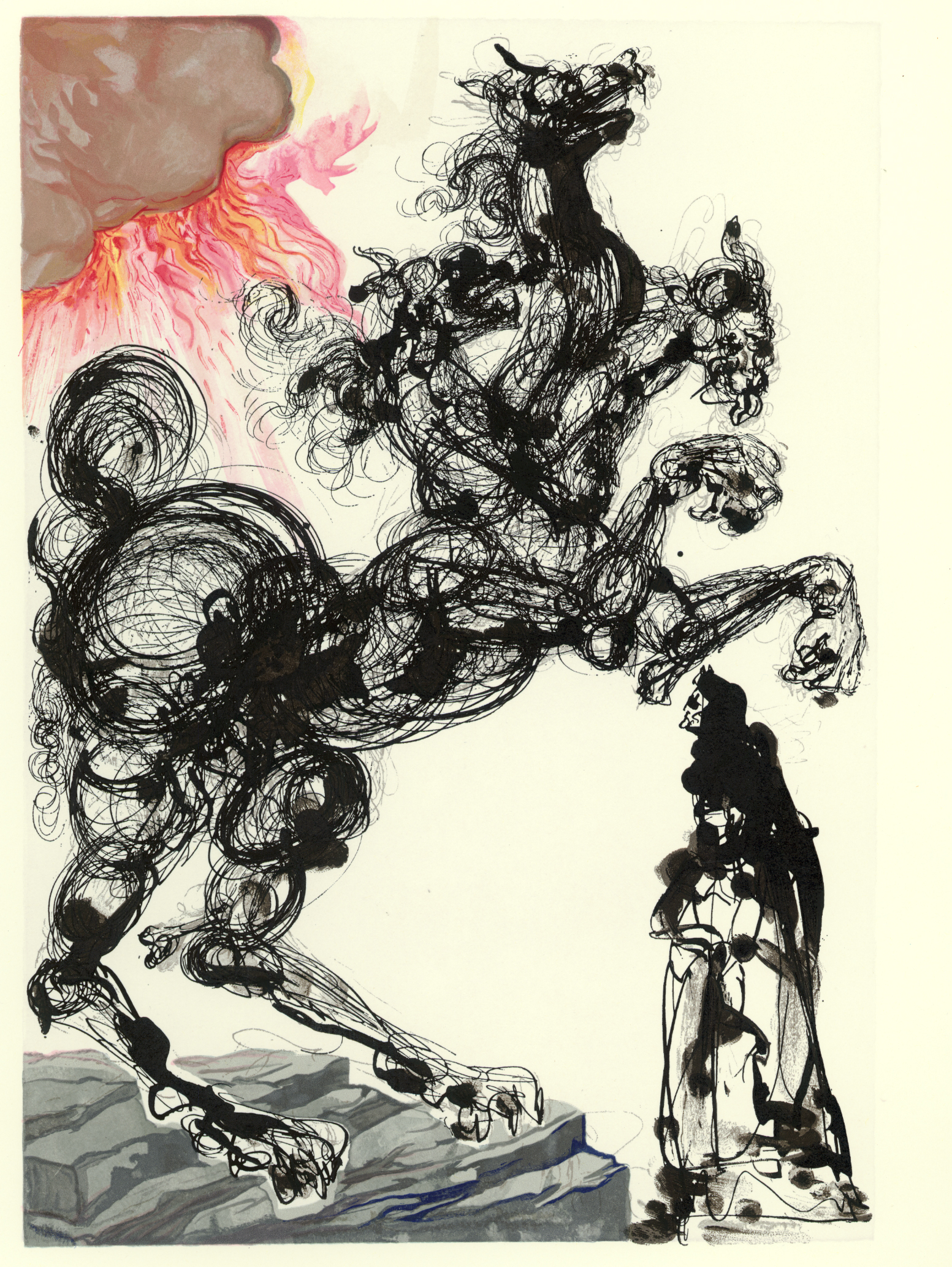 Divine Comedy: Hell Canto 6 - Cerbére, woodcut, 13 X 10.2,  signed, II/III, 1960, M.L. 1044