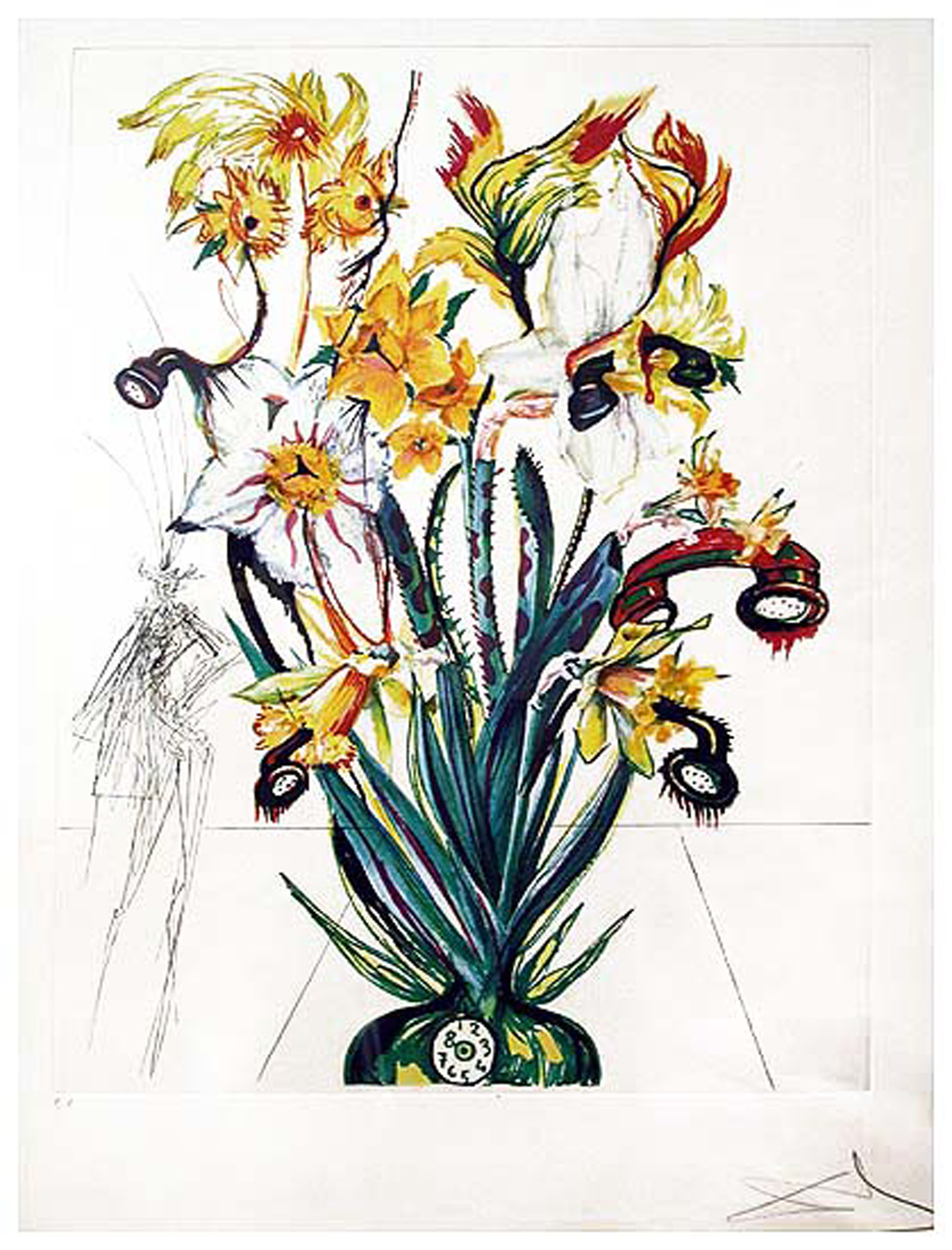 SOLD Florals (Surrealistic Flowers 1972): Narcissus telephonans inondis (Narcissus & Phones), heliogravure with etching, 23 x 16.5, signed 210/350, 1972, ML 549