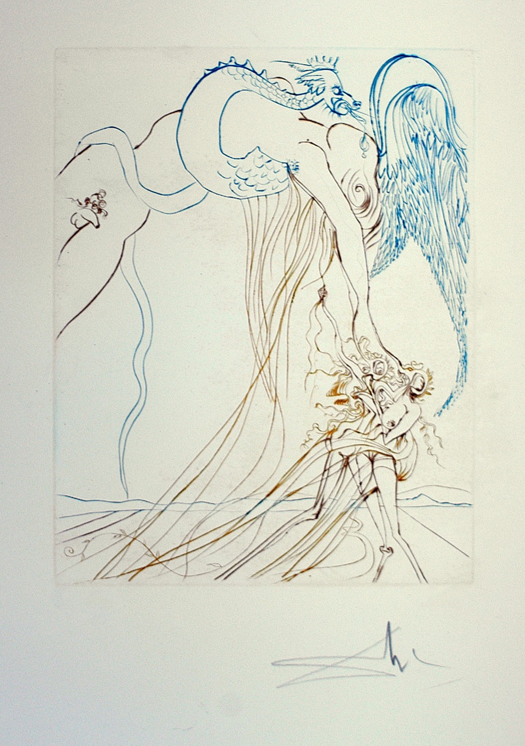 Paradise Lost: La Tentation, drypoint etching in colors, 23 x 21, signed 131/295, 1974, ML 710