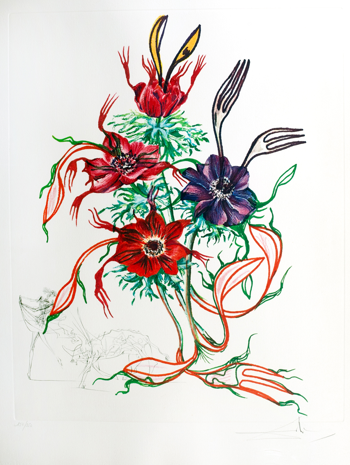 SOLD Florals, (Surrealistic Flowers 1972): Anemone per anti pasti (Anemone & Forks), heliogravure with etching, 23 x 16.5, Signed 210/350, PML 551