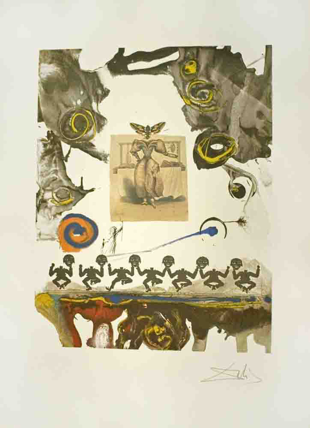 Memories of Surrealism: Surrealistic Gastronomy, color lithograph with drypoint etching, 20.75 x 16.25, signed ed of XL, 1971, ML 505