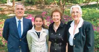 Pictured are John W. Edmonds IV, Katharine Holland Edmonds, Mrs Franklin Edmonds and Mrs John Edmonds III
