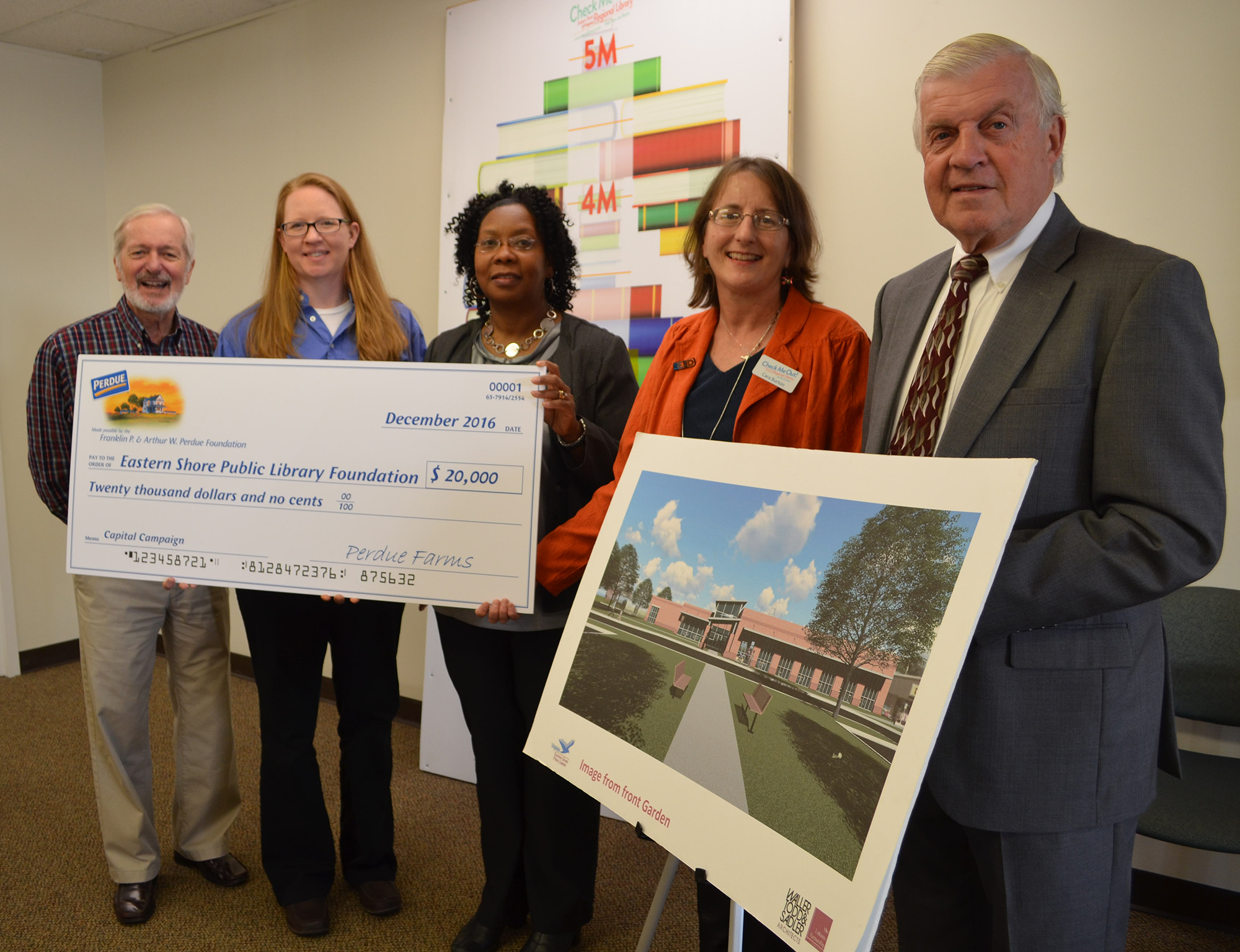 Photo (left to right): Dr. Arthur Fournier, ESPL Foundation Chairman Grants and Corporate Giving Committee; Tamra Langford, Perdue Business Unit Lead; Bel Holden, Perdue Complex Human Resources Manager; Fitz Godwin, ESPL Foundation Capital Campaign Co-Chairman; Cara Burton, Director of Eastern Shore Public Library System