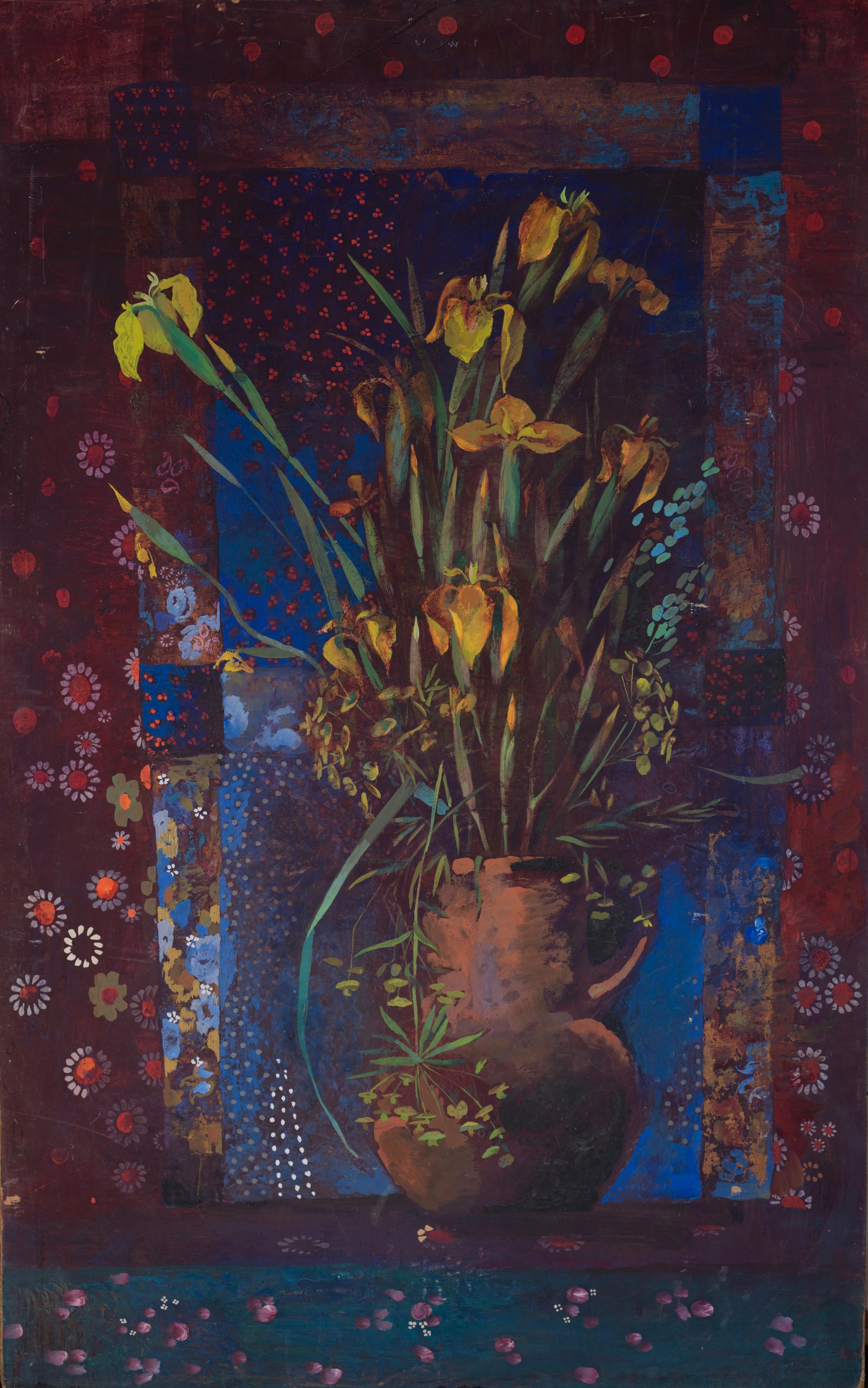 Yellow Irises  Tempera on hardboard 1978