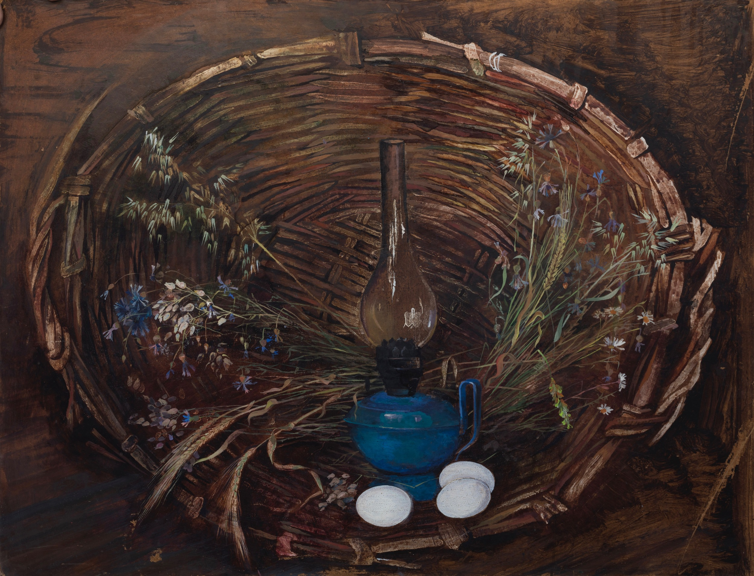 Still Life with a Basket   Tempera on canvas 1976