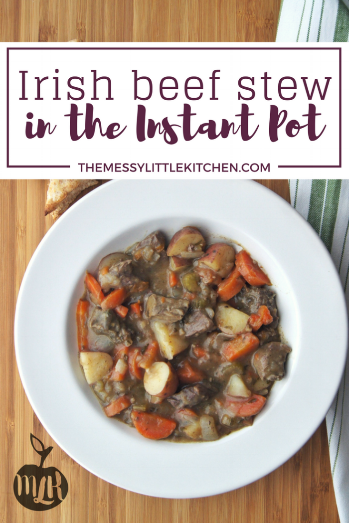 Irish Beef Stew in the Instant Pot: Perhaps you're planning an Irish themed party, or simply looking for ideas for St. Patrick's Day dishes. Regardless, this delicious, fast and easy Irish Beef Stew in the Instant Potis one that you can throw almost effortlessly into your pressure cooker and it is sure to become a new family favourite! Hearty, loaded with veggies, and requiringonly a few minutesof preparation for a delicious, rich flavour as though itwas simmering all day!