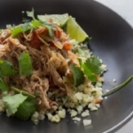 """4.  Slow Cooker Mexican Chicken with Cilantro Lime Cauliflower Rice (Paleo) (10 minutes prep, 4 hours Slow Coooker), from Our Food Fix   Not sure how to """"rice"""" cauliflower? It's super fast & simple, and you can learn how to do it  here (instructions complete with a video) from the Kitchn ."""