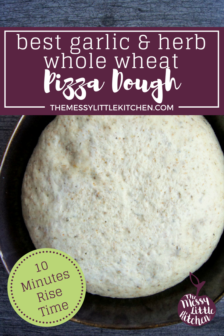 The Best Garlic and Herb Whole Wheat Pizza Dough, EVER! This instant rise pizza dough couldn't be easier. You can either whip it up in your stand mixer (making it hands-free), or knead it by hand. It only needs 10 minutes of poof time, and then you're ready to begin layering the toppingson your delicious Garlic and Herb Whole Wheat crusts. This crust bakes up light, fluffy and flavourful with a savoury hint of seasonings. You can have dough done and pizza cooked in under 40 minutes with this simple, fast and easy pizza dough recipe!