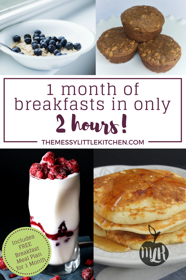 Preparing 1 Month of Breakfasts in Only 2 Hours! Sometimes meal planning and meal preparation can feel overwhelming. Especially in the morning for breakfast! This post will walk you through how you can prepare 1 month of breakfasts in only 2 hours, and a free breakfast meal plan and recipes are included! This is the easiest way to feed your family during the hectic weekday mornings.