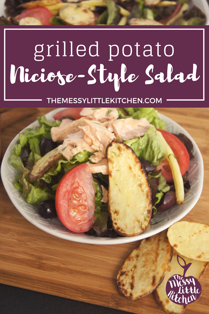 Grilled Potato Niciose-Style Salad. This Grilled Potato Niçoise-Style Salad is an easy recipe and healthy summer meal that is a perfect outdoor BBQ dinner idea for busy families! Warmer summer nights has our family cooking dinner recipes outside!This is a quick & easy dinner that allows the potatoes to cook in under 8 minutes by slicing them thinly. The Carisma potatoes by EarthFresh really shine in taste and texture for this grilled salad family meal.
