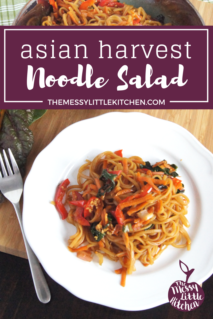 This Asian Harvest Noodle Salad is an easy recipe and healthy late summer that features vermicelli rice noodles and a homemade low calorie Asian dressing. Our family loves easy meals, and especially noodles for salad bases, making them a fun and kid-friendly meal. We also love that the harvest vegetables (peppers, carrots and gorgeous rainbow chard) in this side dish are versatile and can easily be used in more than one dish throughout the week to avoid food waste! And when it comes to using up those delicious and abundant harvest vegetables available in the late summer season, this sesame Asian salad dressing makes them taste about as amazing as you can imagine!