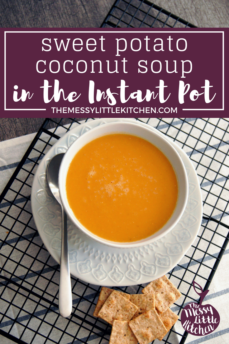 Sweet Potato Coconut Soup in the Instant Pot. This rich and creamy Sweet Potato Coconut Soup is full of vegetables, nutrients, and delicious flavor! It makes a big-batch and is a fast, easy, and a family-friendly recipe that you can make in your Instant Pot or Electric Pressure Cooker!