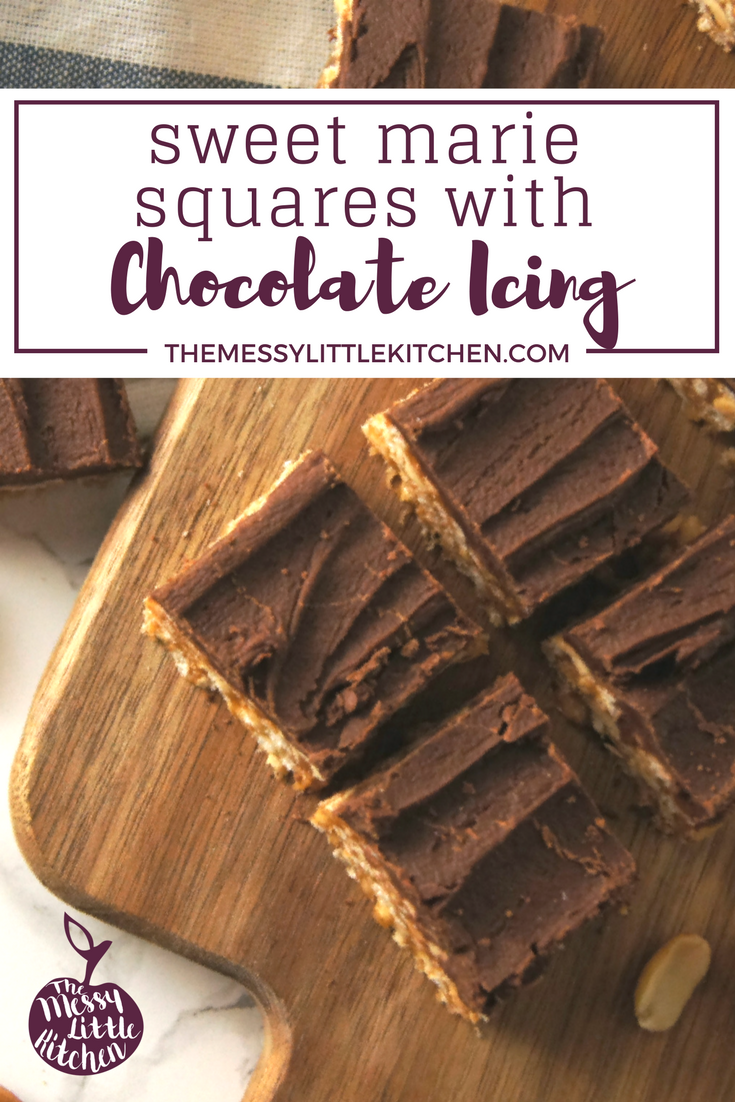 These 20 minute Sweet Marie Squares with Chocolate Icing combines peanuts, peanut butter and chocolate together for this ultimate savoury-sweet flavor combo. These squares are addictive!