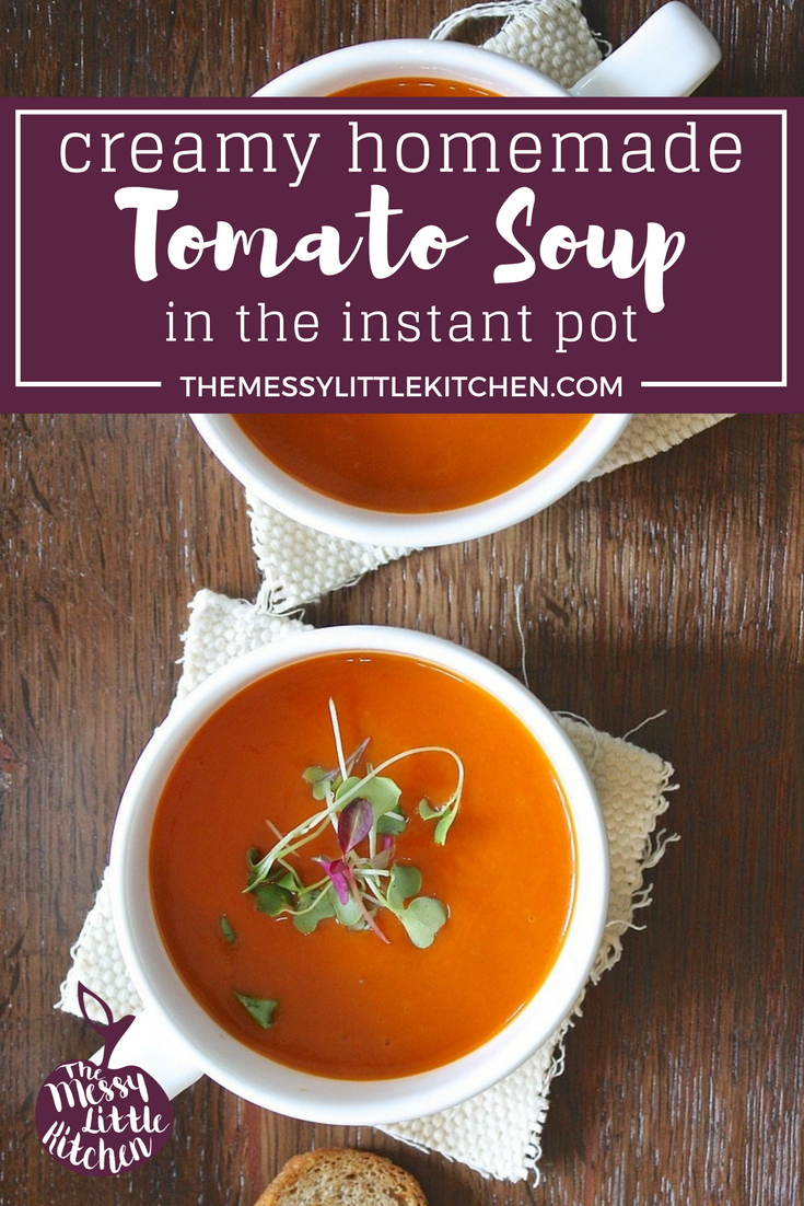 Make this delicious and comforting soup: Creamy Homemade Tomato Soup in the Instant Pot (Pressure Cooker). This homemade tomato soup is healthy, fast and easy to make, and freezer-friendly. Using canned San Marzano tomatoes and a few staples from the pantry and fridge, and you can always say you have the ingredients on hand to make this. Perfect served alongside some toast and cheese on a cool day.