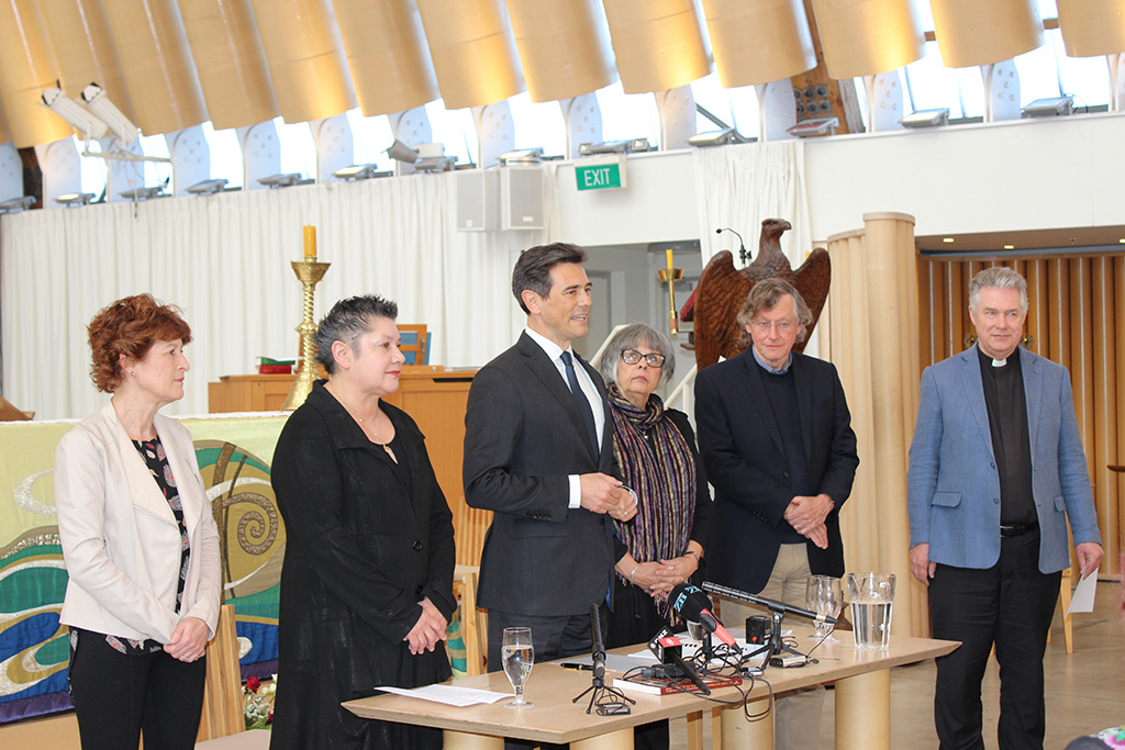 Suzanne Price (CPT), Acting Chair of CPT Moka Ritchie, CCRL Chair Justin Murray, Acting Chair of Christ Church Cathedral Reinstatement Trust Jenny May, Ian Lochhead (CCRT) and Dean Lawrence Kimberley
