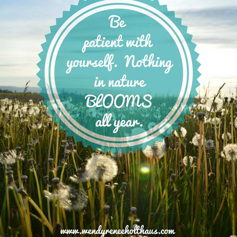 12_1_16 quote   Be patient with yourself. Nothingin natureBLOOMSall year..png