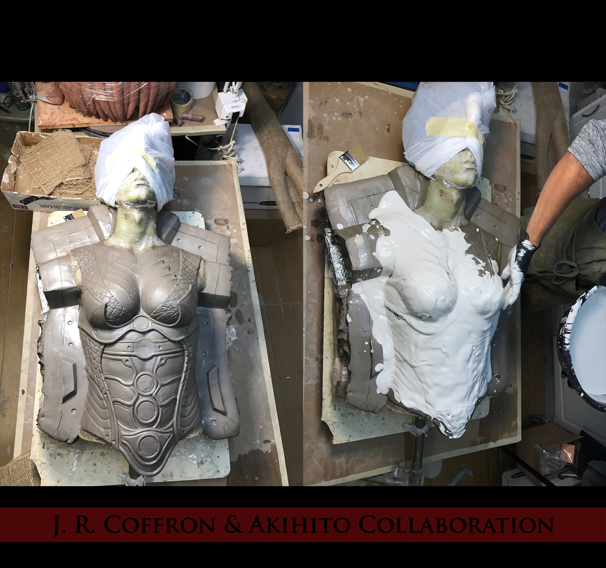 In these images, Akihito begins his molding process.