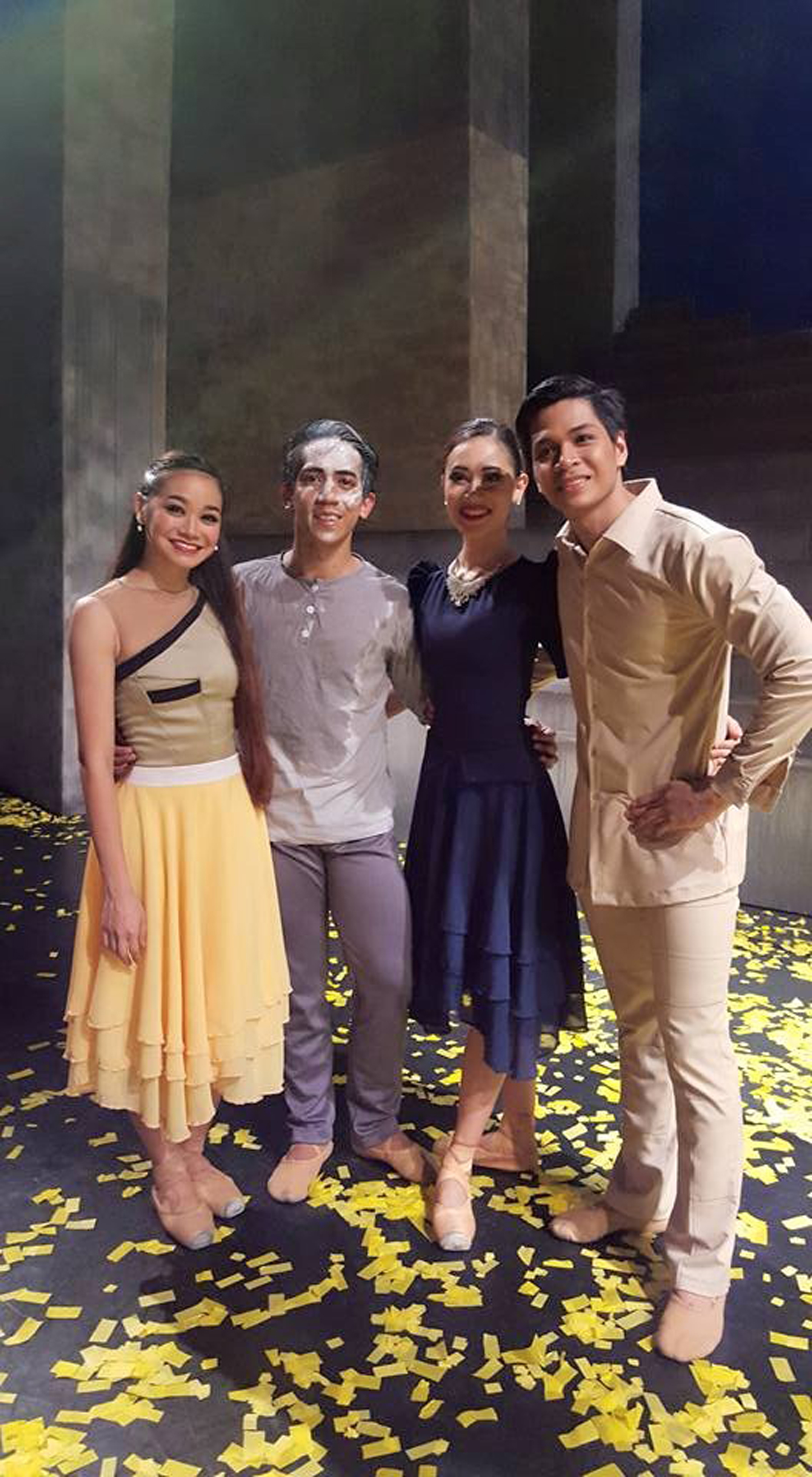 Mark (rightmost) reprises his role as Ninoy Aquino in    Rebel    when BM opens its 21st season. With him are co-stars Dawna Mangahas, Rudolph Capongcol and Abigail Oliveiro during    Rebel's    first run in February. Photo by Sofia Costales