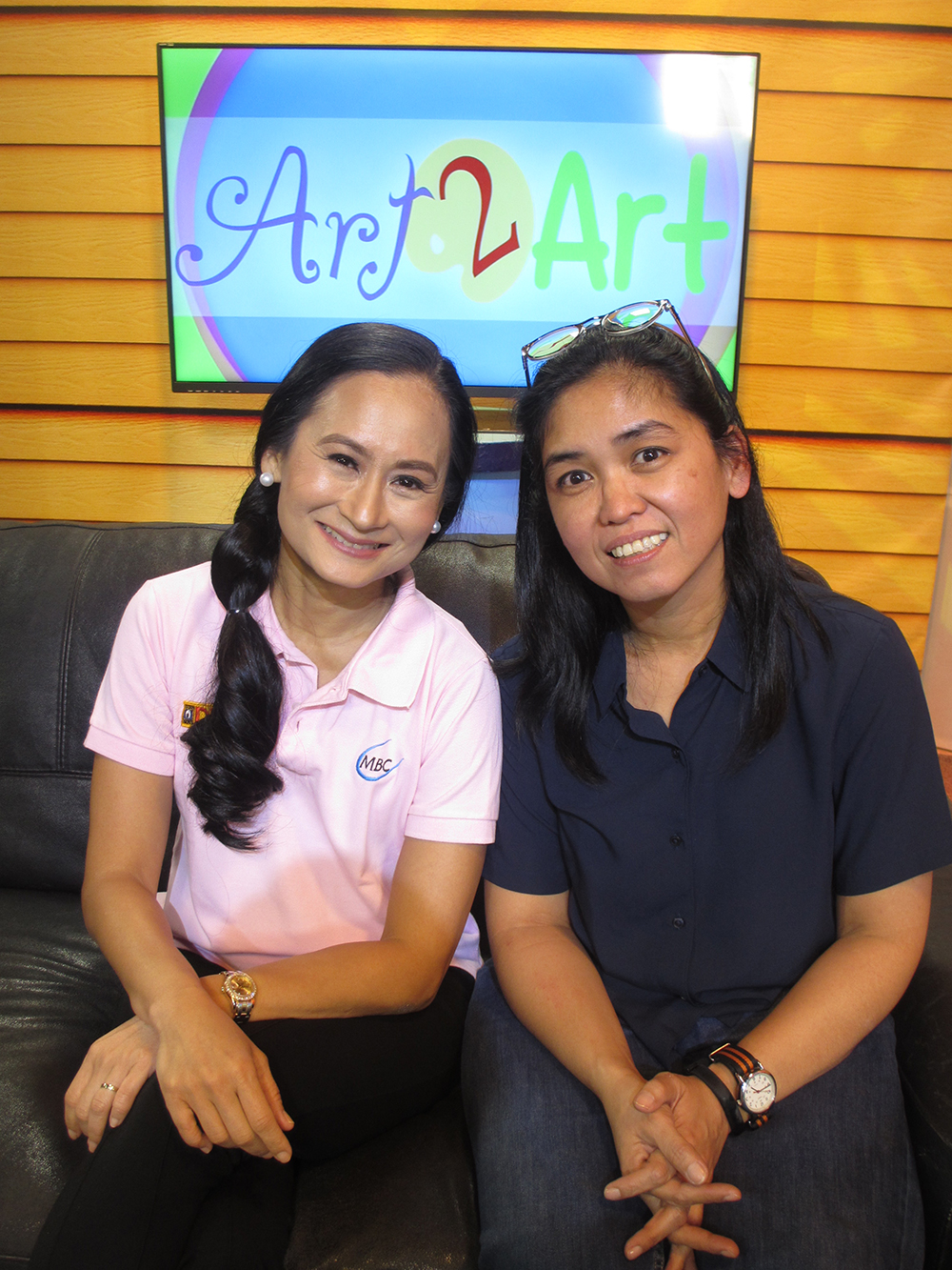 Ballet Manila artistic director Lisa Macuja-Elizalde with G-nie Arambulo after interviewing the photographer for an episode of Art 2 Art