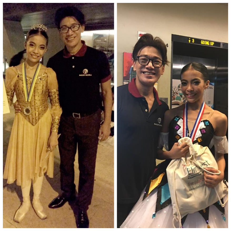 Then and now: Nicole Barroso celebrates her AGP silver-medal win with her Teacher Shaz (Ballet Manila co-artistic director Osias Barroso) in 2015 (left) and in 2016 (right). Both pictures were taken outside the Y-Theater in Hong Kong.