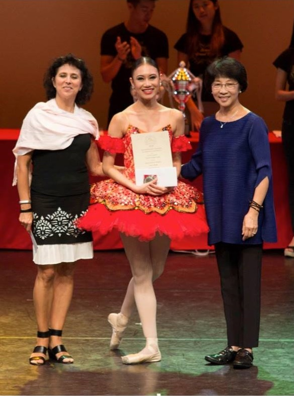 Accepting her award as silver medalist in the Senior Division of the Asian Grand Prix 2015 in Hong Kong. Photo courtesy of Asian Grand Prix